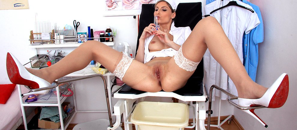 Hot nurse with hot legs wears high heels and stockings HD video
